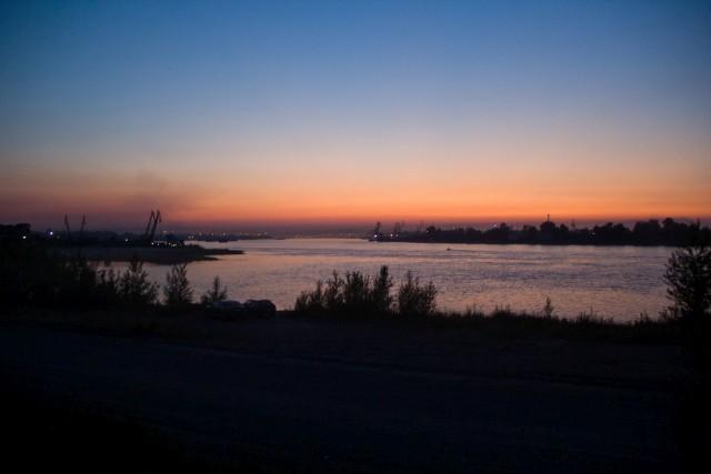 Закат река Енисей