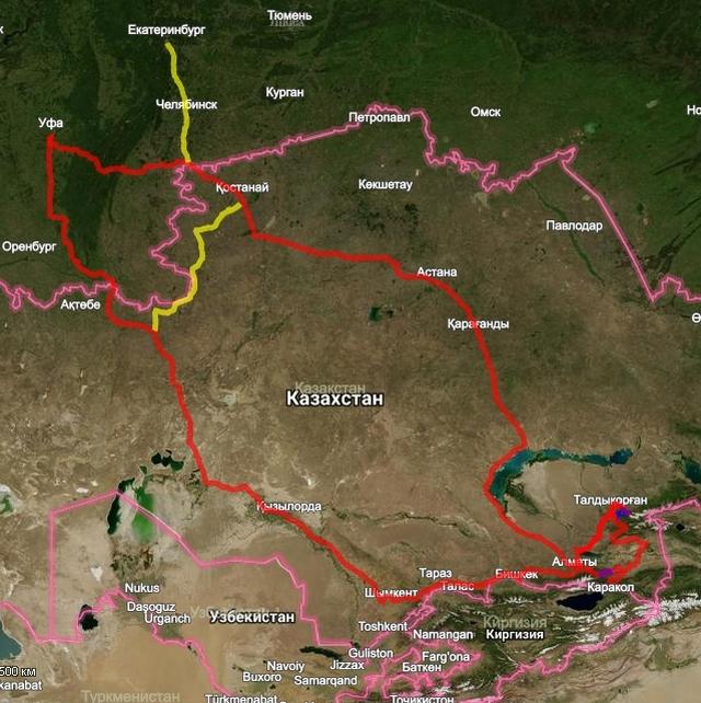 Маршрут по Казахстану