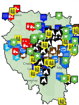 Туристическая карта Башкирии и Южного Урала